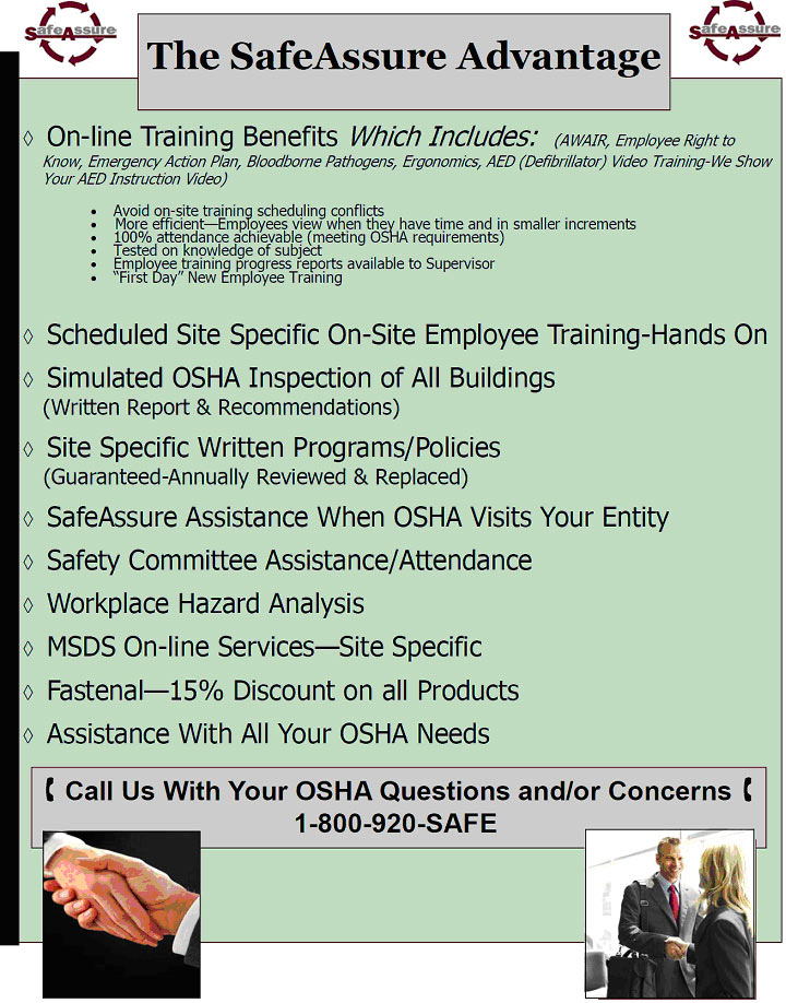SafeAssure Training and Other Services – Site Specific Safety Plan Osha